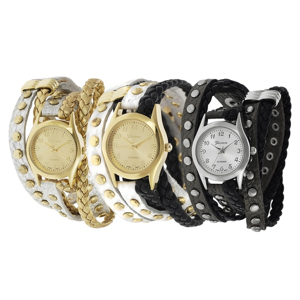 Geneva Platinum Studded Wrap Japanese Quartz Watch