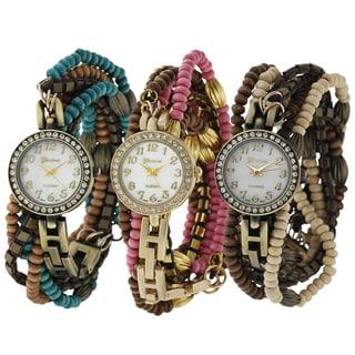 Geneva Platinum Beaded Wrap Watch