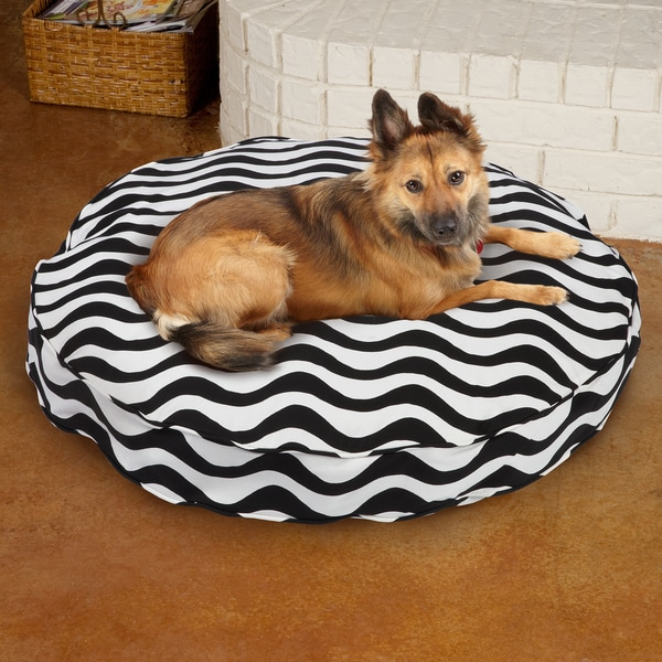 Sweet Dreams Black/ White Stripe Round Corded Pet Bed