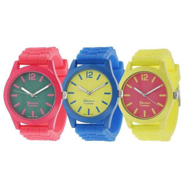 Geneva Platinum Neon Pop Silicone Watch