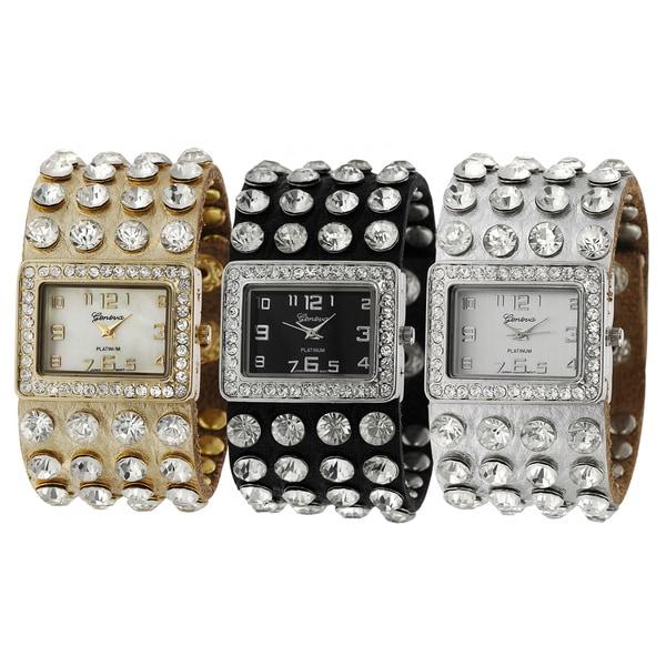 Geneva Platinum Rhinestone Studded Watch