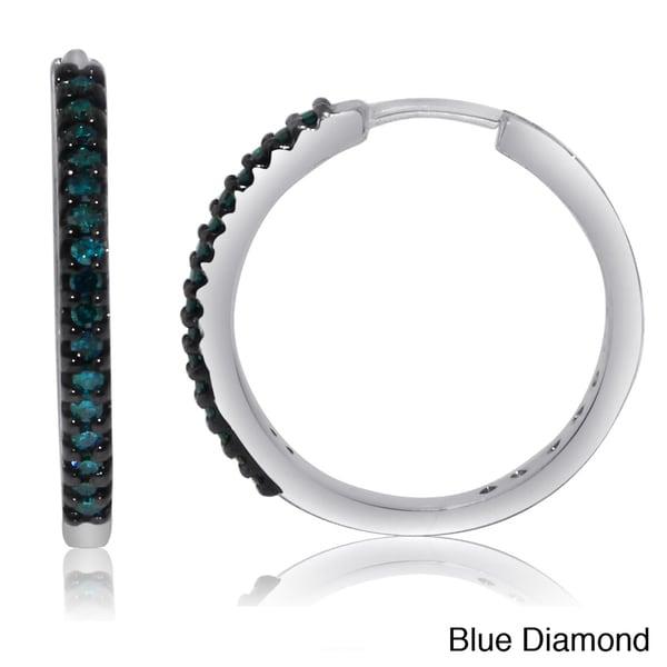 Sterling Silver 1/4ct TDW Black or Blue Diamond Hoop Earrings