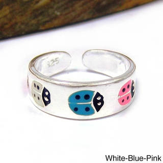 Handmade Multicolor Lady Bug .925 Silver Toe or Pinky Ring (Thailand)