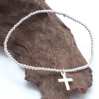 Handmade Simple Elastic Sterling Silver Bead Bracelet with Cross Charm (Thailand)