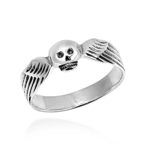 Handmade Funky Skull Wing Wrap Sterling Silver Ring (Thailand)