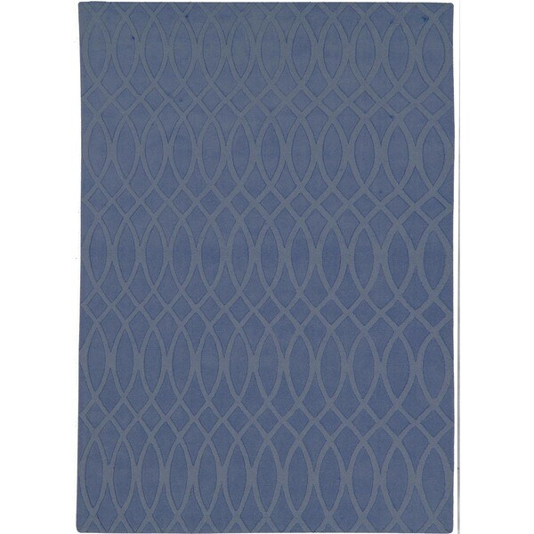 Hand-woven Solid Blue Wool Rug (8' x 11')