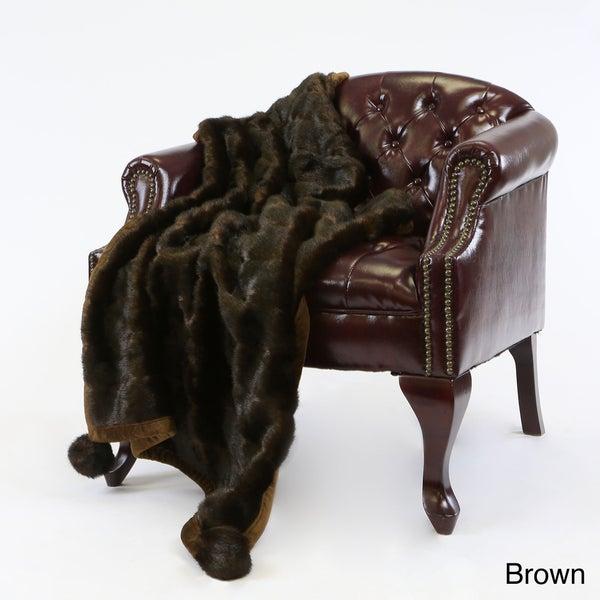 Aurora Home Mink Pom Pom Faux Fur 54 x 36 Throw