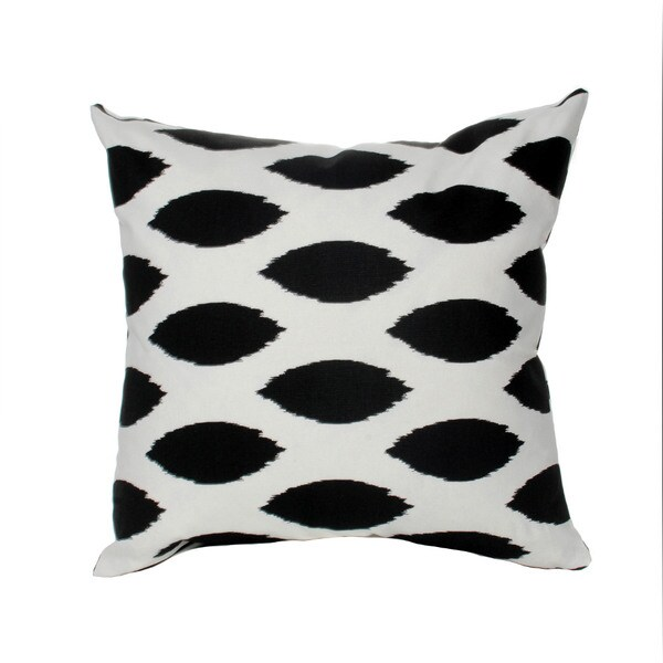 Black and White Down Filled Ikat Throw Pillow