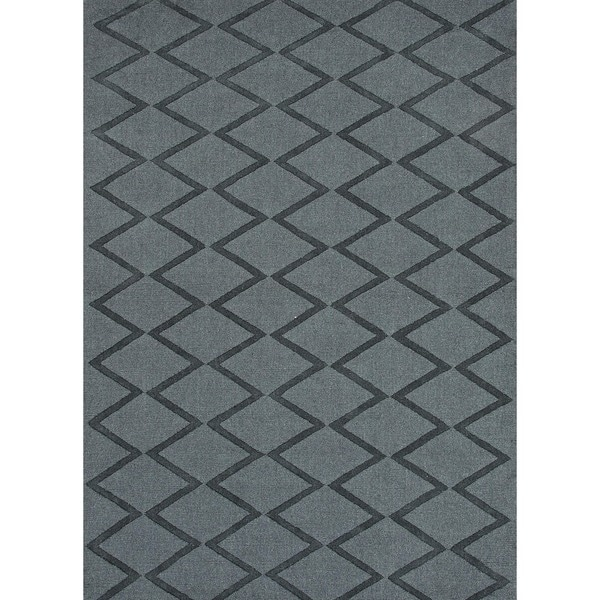 Hand-woven Solid Gray/ Black Wool Rug (3'6 x 5'6)
