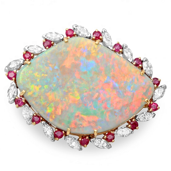 Pre-owned Roberto Martinez 18k Gold Opal, Ruby and 1 1/2ct TDW Diamond Estate Pin (H-I, SI1-SI2)