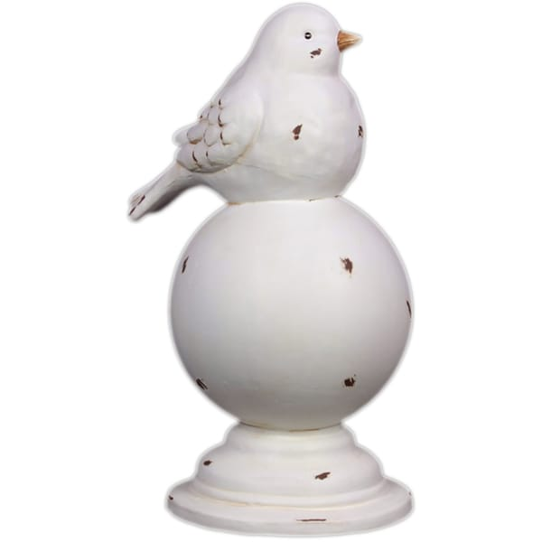White Antique Finish Ceramic Bird On Stand