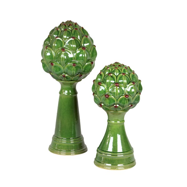 Urban trends collection green ceramic artichoke set of 2 for Artichoke decoration
