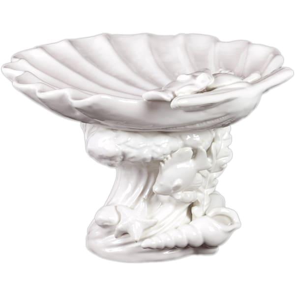 Urban Trends Collection Decorative White Ceramic Seashell Platter