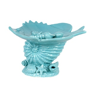 Urban Trends Collection Blue Ceramic Seashell Platter