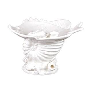 Urban Trends Collection White Ceramic Seashell Platter