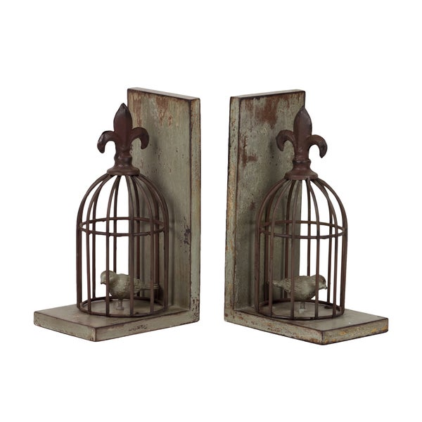 Urban Trends Collection 10-inch Resin Bird Cage Bookends (Set of 2)
