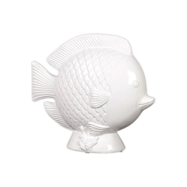 Urban Trends Collection 11-inch White Ceramic Fish