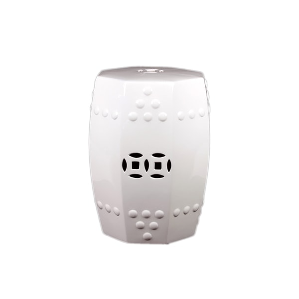 Urban Trends Collection 18-inch White Ceramic Stool