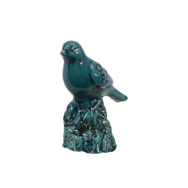"Urban Trends Collection Turquoise Ceramic Bird (6"" x 3.5"" x 7.5"")"