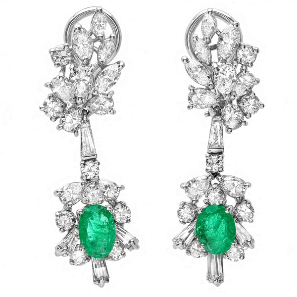 Pre-owned Roberto Martinez 18k Gold Emerald and 2 1/2ct TDW Diamond Estate Earrings (G-H, SI1-SI2)