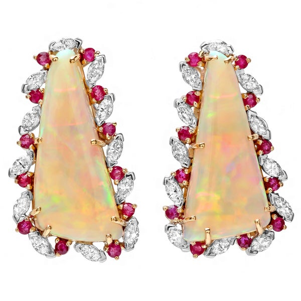 Pre-owned Roberto Martinez 18k Gold Opal, Ruby and 1 1/2ct TDW Diamond Estate Earrings (H-I, SI1-SI2)