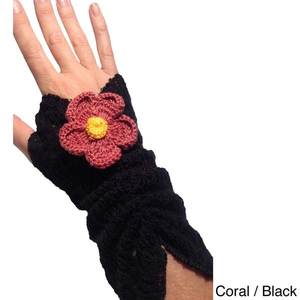 Crochet Knit Fingerless Goves with Flower Applique
