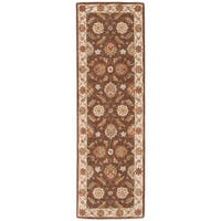 "Lucina Handmade Floral Brown/ Gold Area Rug (2'6"" X 6')"