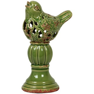 Urban Trends Collection Antique Green Ceramic Bird on Stand