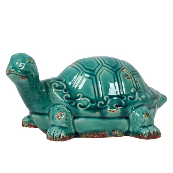 Urban Trends Collection Antique Blue Ceramic Tortoise