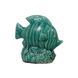 Urban Trends Collection Antique Blue Ceramic Fish