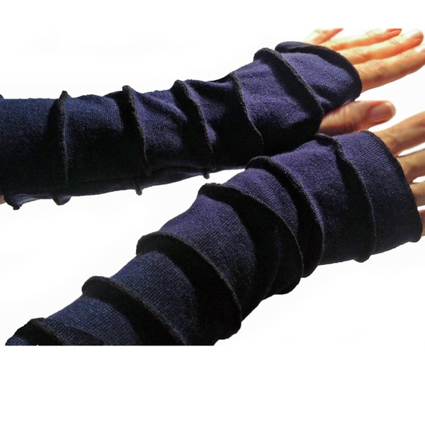 Soft Knit Fingerless Gloves with Contrast Stitching
