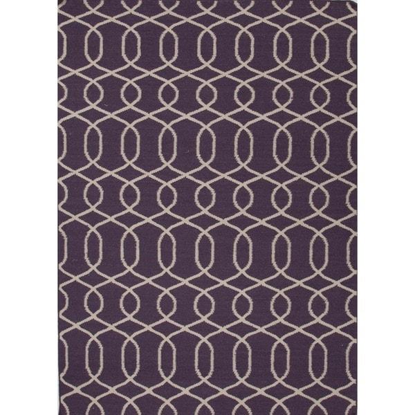 Handmade Flat Weave Moroccan Purple Wool Rug (5' x 8')