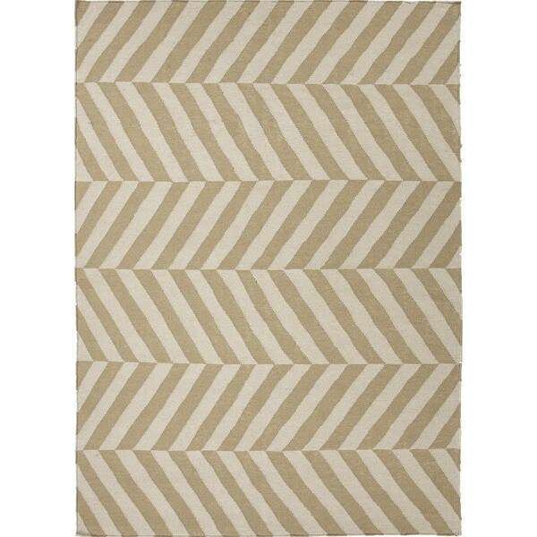 Handmade Flat-Weave Stripe Beige/ Brown Wool Rectangle Rug (2' x 3')