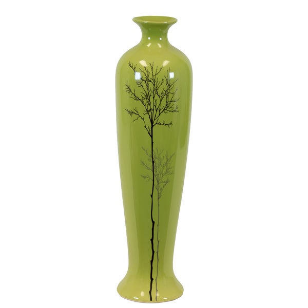 Urban Trends Collection Large Shiney Green Ceramic Vase
