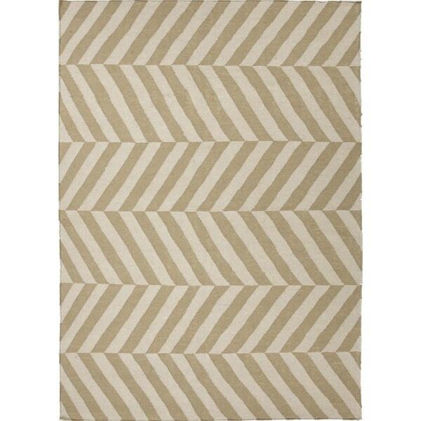 Handmade Flat Weave Stripe Beige/Brown Wool Area Rug (5' x 8')