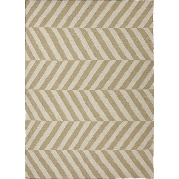 Handmade Flat Weave Stripe Beige/ Brown Wool Rug (9' x 12')