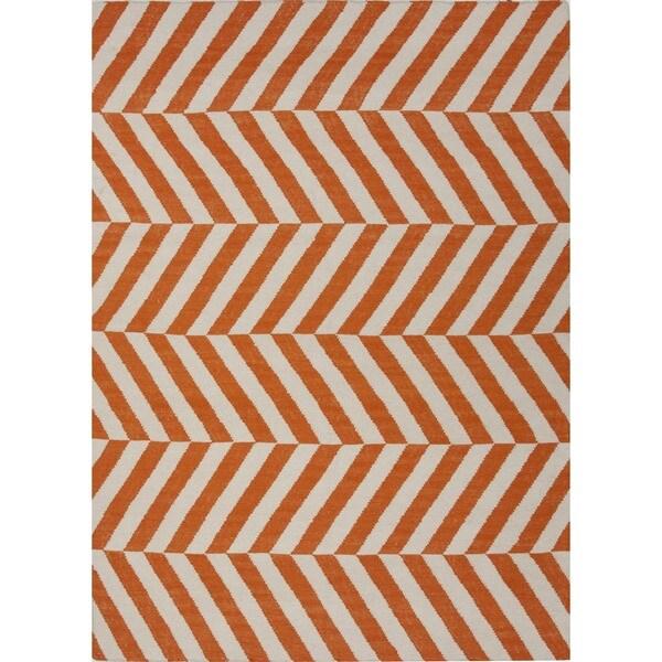 Handmade Flat Weave Stripe Red/ Orange Wool Rug (5' x 8')