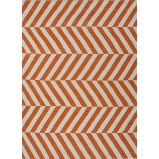 Handmade Flat Weave Stripe Red/ Orange Wool Rug (8' x 10')