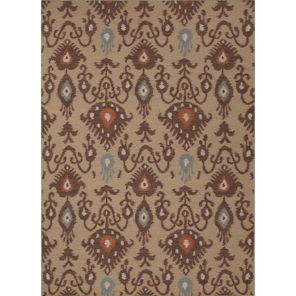 Handmade Flat Weave Tribal Beige/ Brown Wool Rug (5' x 8')