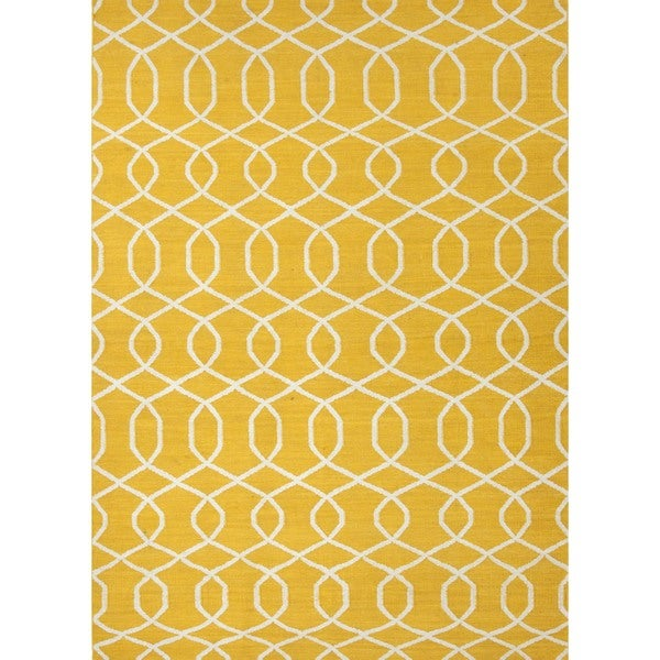Handmade Flat Weave Geometric Gold/Yellow Wool Area Rug (9' x 12')