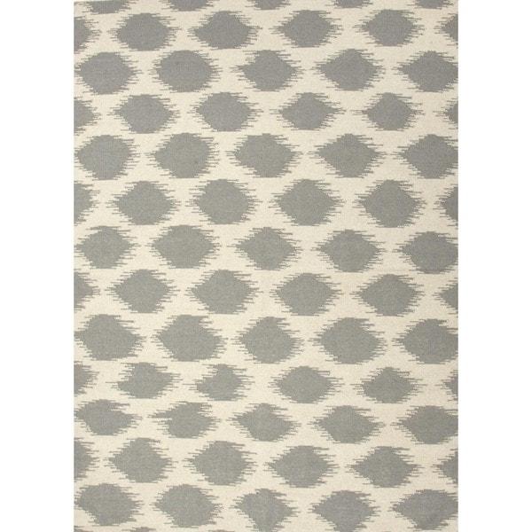 Handmade Flat Weave Tribal Gray/ Black Wool Rug (5' x 8')