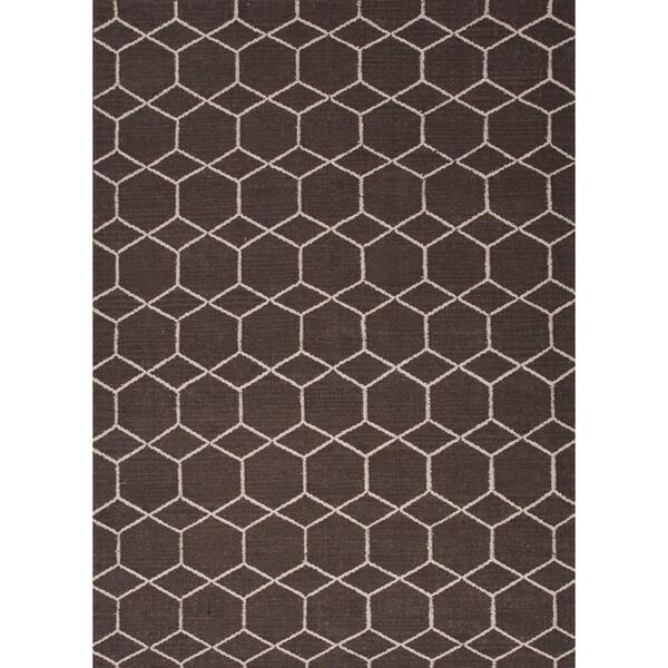 Handmade Flat Weave Geometric Beige/ Brown Wool Rug (9' x 12')