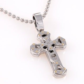 Stainless Steel Diamond Accent Layered Cross Necklace