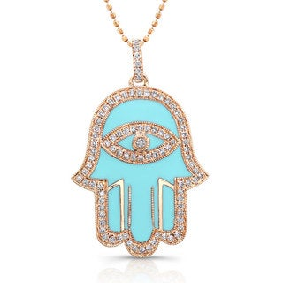 Victoria Kay Sterling Silver 1/4ct TDW Blue or White Enamel Diamond Hamsa Necklace (J-K, I2-I3) (3 options available)