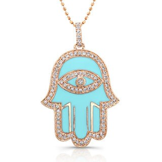 Victoria Kay Sterling Silver 1/4ct TDW Blue or White Enamel Diamond Hamsa Necklace (J-K, I2-I3)