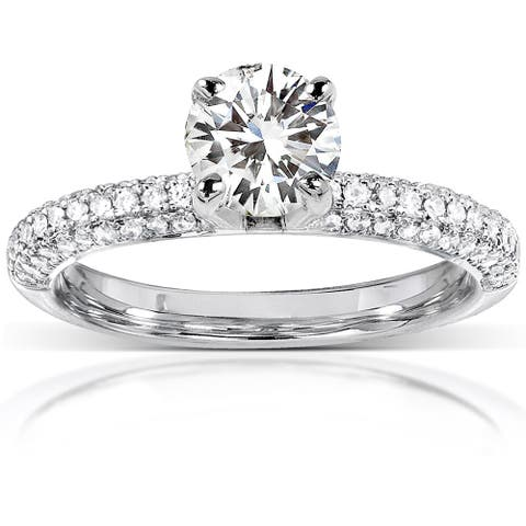 Annello by Kobelli 14k White Gold 1 1/4ct TGW Round-cut Moissanite (HI) and Diamond Micro-pave Engagement Ring