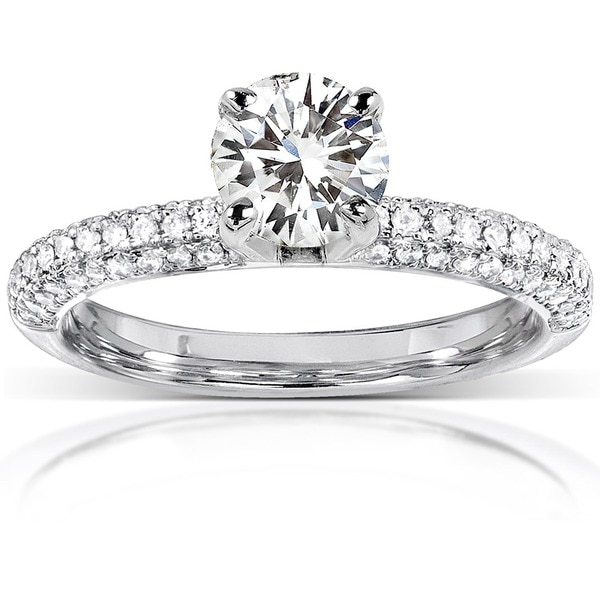 Annello by Kobelli 14k White Gold Moissanite and 1/4ct TDW Round-cut Diamond Engagement Ring