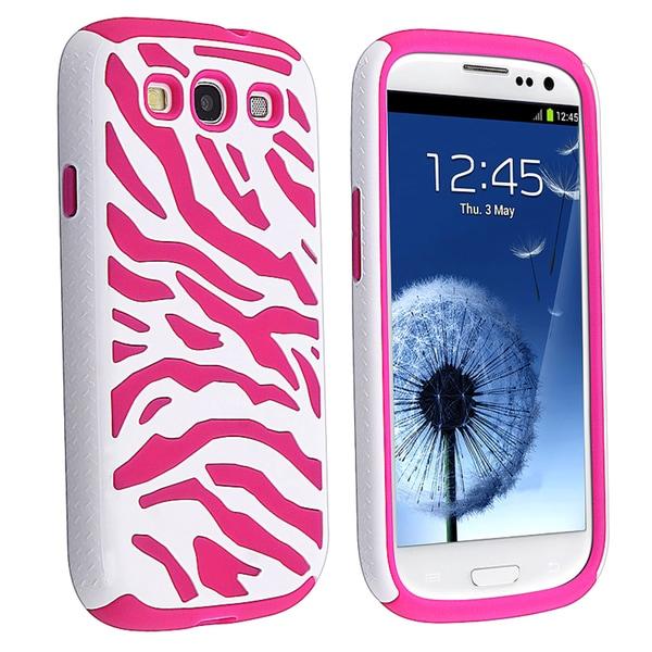 BasAcc Pink/ White Zebra Hybrid Case for Samsung© Galaxy S III/ S3