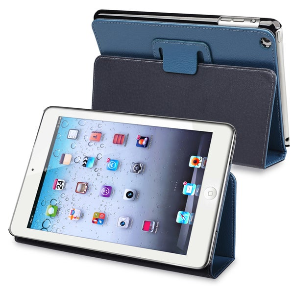 BasAcc Navy Blue Leather Case with Stand for Apple iPad Mini