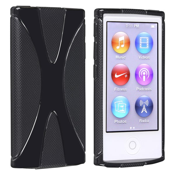 INSTEN Black TPU Rubber Skin iPod Case Cover for Apple iPod nano 7th Generation